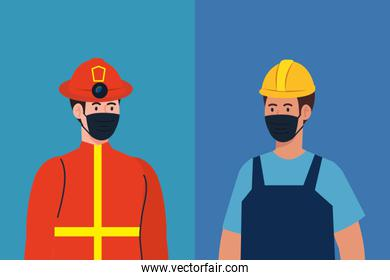 male firefighter and constructer with masks vector design