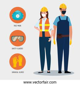 female and male constructers with uniforms and masks vector design