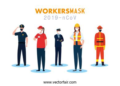 people workers with uniforms and workermasks vector design