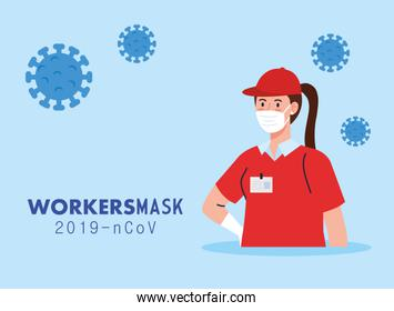delivery woman with uniform and workermask vector design