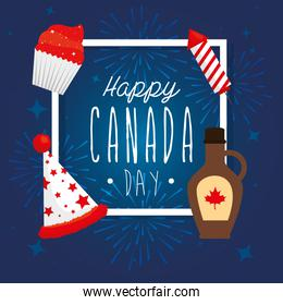 Canadian maple syrup hat firework and cupcake vector design