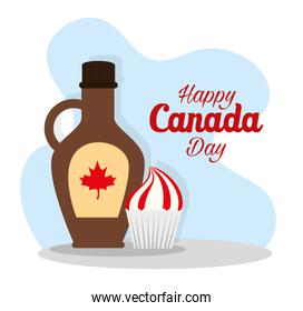 Canadian maple syrup and cupcake of happy canada day vector design