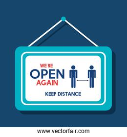 open again after quarantine, owner welcoming customer, reopening of shop, service, we are open again, keep distance