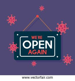 open again after quarantine, owner welcoming customer, reopening of shop, service, we are open again