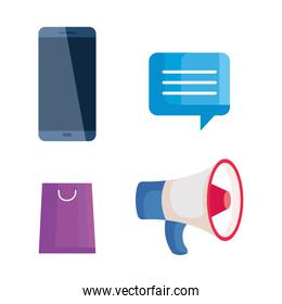 digital online marketing, business social media marketing, icons collection
