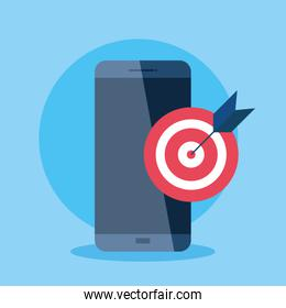 mobile phone, smartphone device with target and arrow