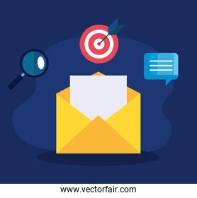 digital online marketing for business and social media marketing, envelope with marketing icons