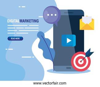 digital online marketing for business and social media marketing, content marketing, smartphone and marketing icons