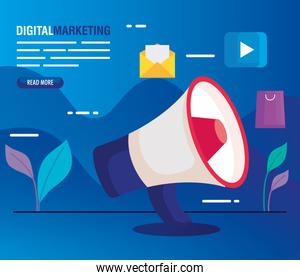 digital online marketing for business and social media marketing, megaphone and marketing icons