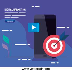 digital online marketing for business and social media marketing, content marketing, smartphone with target and play symbol
