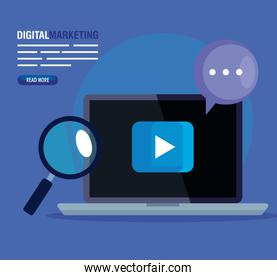 digital online marketing for business and social media marketing, laptop and marketing icons