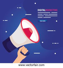 digital online marketing for business and social media marketing, content marketing, hand with megaphone