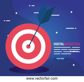 digital online marketing for business and social media marketing, target with arrow