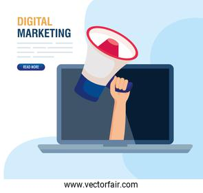 digital online marketing for business and social media marketing, content marketing, laptop and hand with megaphone