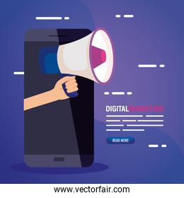 digital online marketing for business and social media marketing, content marketing, smartphone with megaphone