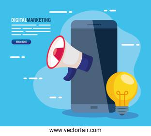 digital online marketing for business and social media marketing,smartphone with megaphone and light bulb