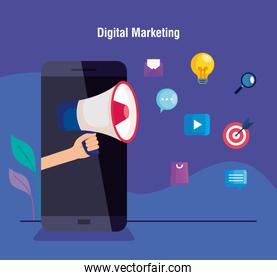 digital online marketing for business and social media marketing,smartphone with megaphone and light bulb and marketing icons