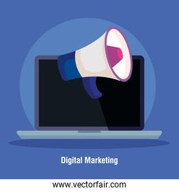 digital online marketing for business and social media marketing, content marketing, laptop with megaphone