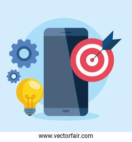 digital online marketing for business and social media marketing, smartphone with marketing icons