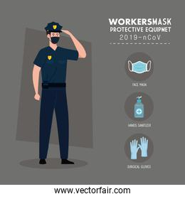 policeman wearing face mask during covid 19 with protective equipment for prevention coronavirus