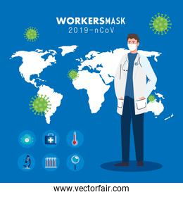 doctor wearing medical mask against 2019 ncov with medical icons and background world planet