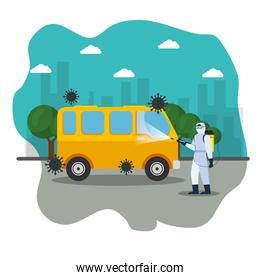van car disinfection service, prevention coronavirus covid 19, clean surfaces in car with a disinfectant spray, person with biohazard suit