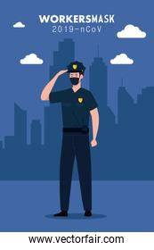 policeman wearing face mask during covid 19 with cityscape