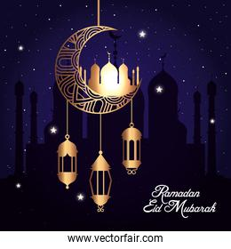 ramadan eid mubarak, moon hanging with mosque and lanterns hanging
