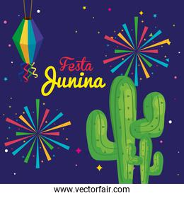 festa junina with cactus and decoration, brazil june festival, celebration decoration