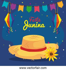 festa junina with hat wicker and decoration, brazil june festival