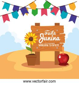 festa junina with wooden sign and decoration, brazil june festival