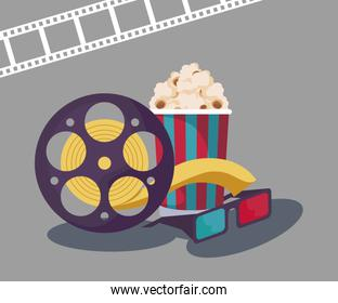 tape reel cinema with eyeglasses and popcorn over gray
