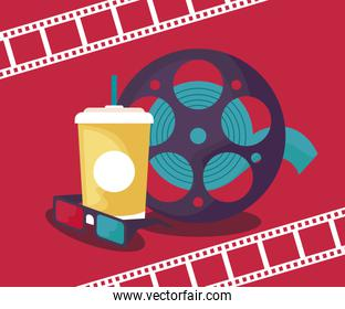 tape reel cinema with drink and eyeglasses over red
