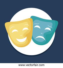set of theater masks icons