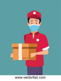 delivery service worker wearing medical mask and box