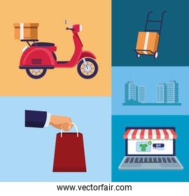 delivery service online with laptop