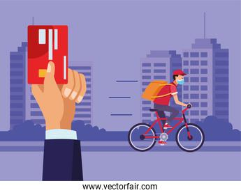 delivery service worker wearing medical mask in bicycle