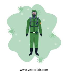 biosafety worker with biohazard suit and covid19 particles