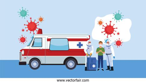 biosafety workers with biohazard suit and ambulance covid19 particles