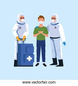 biosafety workers with biohazard suit and patient