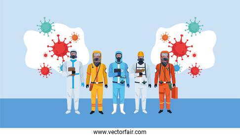 biosafety workers with biohazard suits and covid19 particles