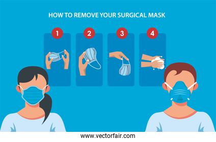 how to remove the surgical mask covid19 infographic
