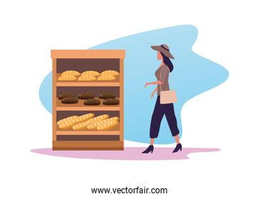 young woman shopping bread activity character
