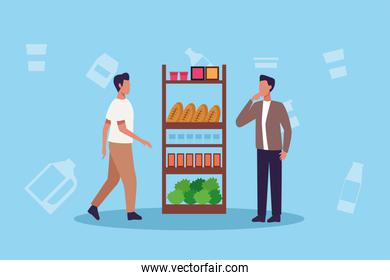 young men shopping groceries activity characters