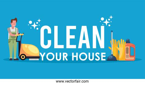 man working with housekeeping tools disinfect your house