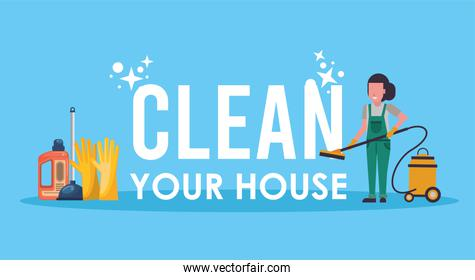 woman working with housekeeping tools disinfect your house