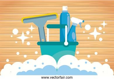 set of housekeeping tools for disinfect your house