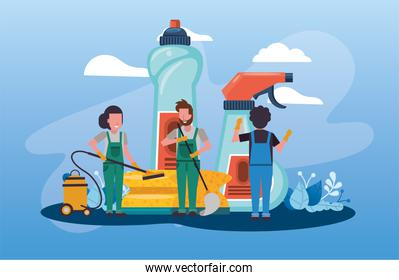 people working with housekeeping tools disinfect your house