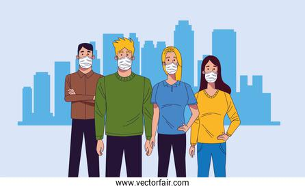 young people wearing medical masks characters