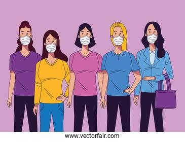 young women wearing medical masks characters